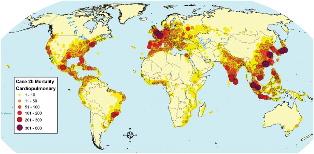 Mortalidad cardiopulmonar atribuible a las emisiones de PM2.5 de buques en todo el mundo (Mortality from Ship Emissions: A Global Assessment – J.J. Corbett).